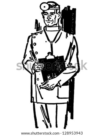 Medical Doctor With Chart - Retro Clip Art Illustration