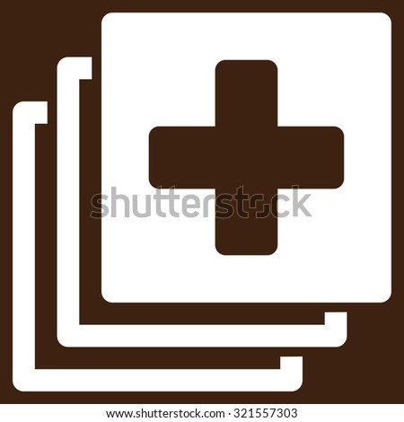 Medical Documents vector icon. Style is flat symbol, white color, rounded angles, brown background.