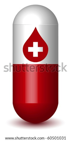 Medical Drop Sign Capsule Pill (Vector) - stock vector