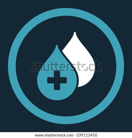 Medical Drops vector icon. Style is bicolor flat rounded symbol, blue and white colors, rounded angles, dark blue background. - stock vector