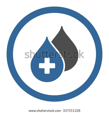 Medical Drops vector icon. Style is bicolor flat rounded symbol, cobalt and gray colors, rounded angles, white background. - stock vector