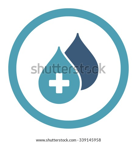 Medical Drops vector icon. Style is bicolor flat rounded symbol, cyan and blue colors, rounded angles, white background. - stock vector