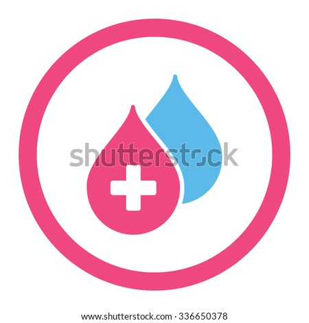 Medical Drops vector icon. Style is bicolor flat rounded symbol, pink and blue colors, rounded angles, white background. - stock vector