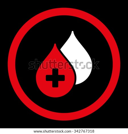 Medical Drops vector icon. Style is bicolor flat rounded symbol, red and white colors, rounded angles, black background. - stock vector