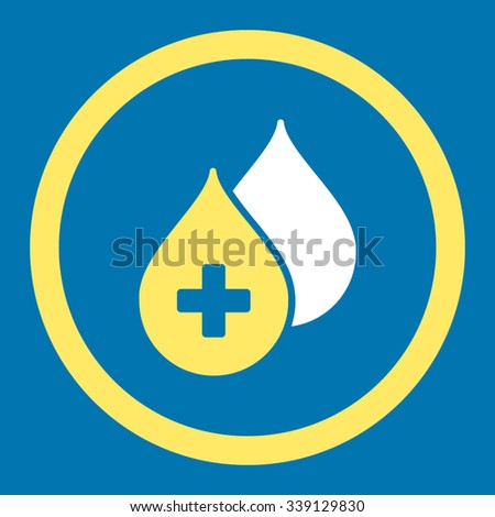 Medical Drops vector icon. Style is bicolor flat rounded symbol, yellow and white colors, rounded angles, blue background. - stock vector