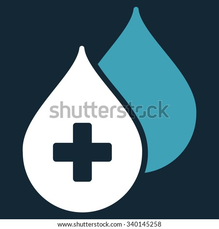 Medical Drops vector icon. Style is bicolor flat symbol, blue and white colors, rounded angles, dark blue background. - stock vector