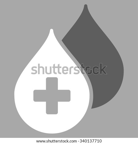 Medical Drops vector icon. Style is bicolor flat symbol, dark gray and white colors, rounded angles, silver background. - stock vector