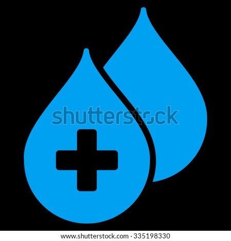Medical Drops vector icon. Style is flat symbol, blue color, rounded angles, black background. - stock vector