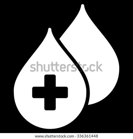 Medical Drops vector icon. Style is flat symbol, white color, rounded angles, black background. - stock vector