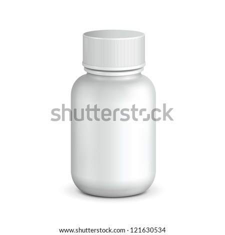 Medical Drugs Tablets ?apsules Plastic Bottle White. Ready For Your Design. Product Packing Vector EPS10 - stock vector