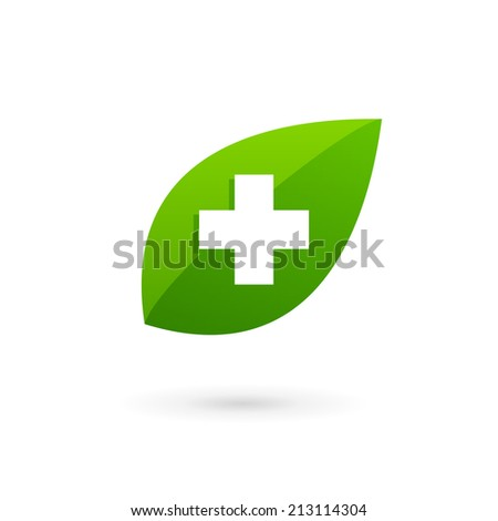 Medical eco logo icon design template with cross and plus. Vector sign. - stock vector