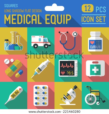 Medical equipment flat long shadow design square icon set. Trendy illustrations. Vector. - stock vector