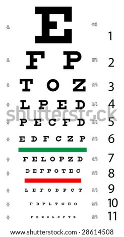 Medical Eye Chart - stock vector