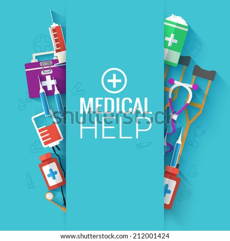 Medical flat background concept. Vector illustration design - stock vector