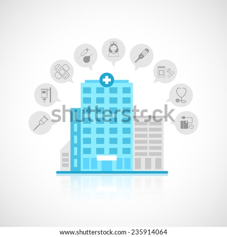 Medical flat building with emergency center clinic hospital and doctor avatars decorative icons set vector illustration - stock vector