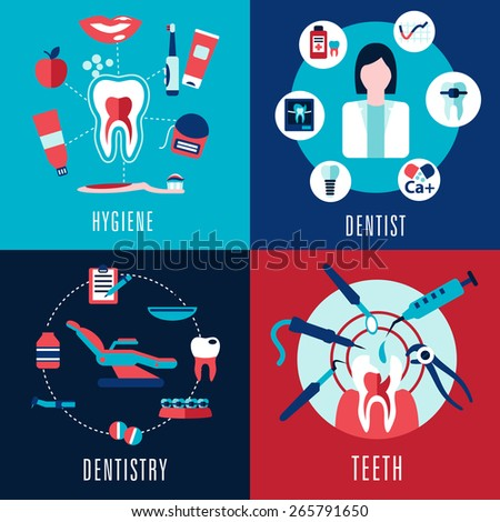 Medical flat concept with dentistry, dentist, teeth, hygiene infographics showing female doctor, tooth cross sections and dental chair with treatments icons - stock vector