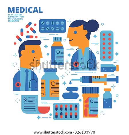 Medical, Flat Design, Illustration - stock vector