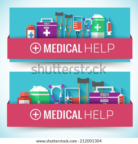 Medical flat horizontal banners concept. Vector illustration design - stock vector
