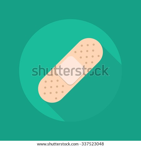 Medical Flat Icon With Long Shadow. Plaster - stock vector