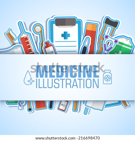 Medical flat sticker background concept. Vector illustration design - stock vector