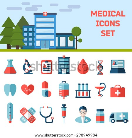 Medical Flat Vector Icons Set. Health and Medical Care Illustration.