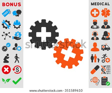 Medical Gears vector icon. Style is bicolor flat symbol, orange and gray colors, rounded angles, white background.