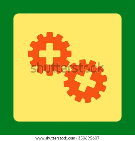 Medical Gears vector icon. Style is flat rounded square button, orange and yellow colors, green background.
