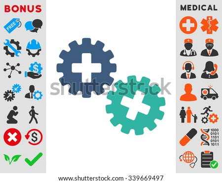 Medical Gears vector icon with bonus. Style is bicolor flat symbol, cobalt and cyan colors, rounded angles, white background.