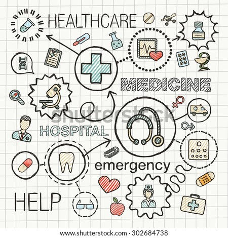 Medical hand draw integrated color icons set. Vector sketch infographic illustration with line connected doodle hatch pictograms on paper: healthcare, medicine, science, emergency, pharmacy concepts - stock vector