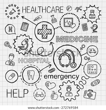 Medical hand draw integrated icons set. Vector sketch infographic illustration with line connected doodle hatch pictograms on paper: healthcare, doctor, medicine, science, emergency, pharmacy concepts - stock vector