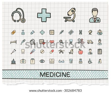 Medical hand drawing line icons. Vector doodle pictogram set: color pen sketch sign illustration on paper with hatch symbols: hospital, emergency, doctor, nurse, pharmacy, medicine, health care.
