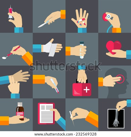 Medical hands with thermometer medicine syringe flat icons set isolated vector illustration  - stock vector