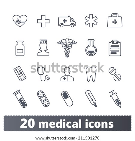 Medical, health care icons: vector set of health and medicine signs - stock vector