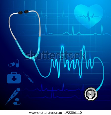 Medical health service stethoscope and heartbeat pulse line background vector illustration - stock vector