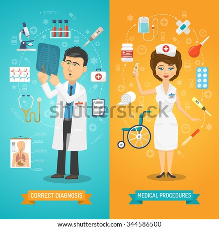 Medical healthcare vertical banner set doctor and nurse isolated vector illustration - stock vector