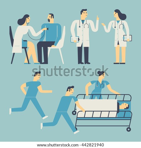 Medical, Healthy Flat style illustration