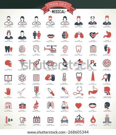 Medical,Healthy icon set,red version,clean vector - stock vector