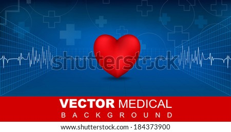 Medical Heart cardiogram pattern - stock vector