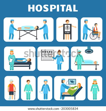 Medical hospital ambulance flat pictograms set isolated vector illustration - stock vector