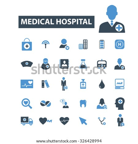 medical hospital icons - stock vector