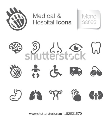 Medical & hospital related icons. - stock vector
