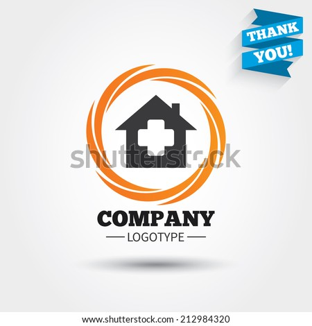 Medical hospital sign icon. Home medicine symbol. Business abstract circle logo. Logotype with Thank you ribbon. Vector - stock vector