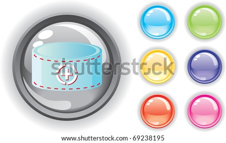 Medical icon and colorful buttons set. Isolated on a white background. Vector illustration (EPS8). All parts (object) closed, possibility to edit. Without transparency