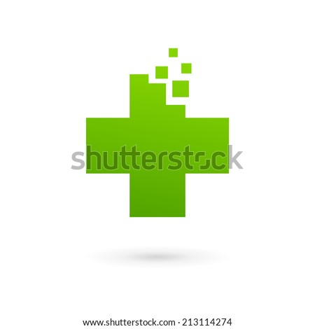 Medical icon design template with cross. Vector emblem sign with plus symbol - stock vector