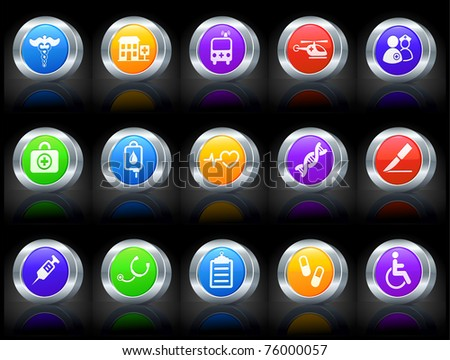 Medical Icon on Button with Metallic Rim Collection Original Illustration - stock vector