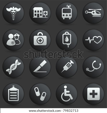 Medical Icon on Round Black and White Button Collection Original Illustration