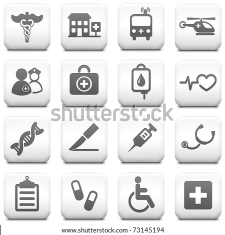 Medical Icon on Square Black and White Button Collection Original Illustration - stock vector