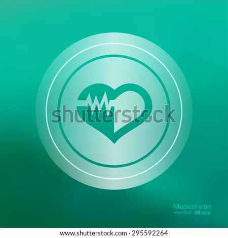 Medical icon on the blurred background. Cardiogram  symbol. Vector illustration
