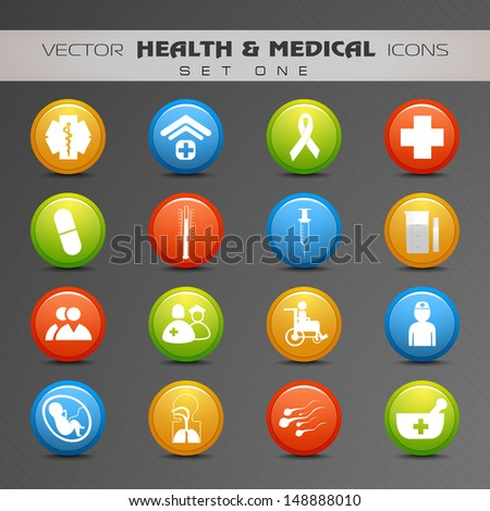 Medical Icon Set. - stock vector