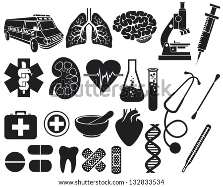 medical icon set (kidney, human lungs, pharmacy snake symbol, first aid medical sign, pills illustration, tooth, stethoscope, brain, microscope, syringe, DNA strand, heart, first aid, ambulance van) - stock vector